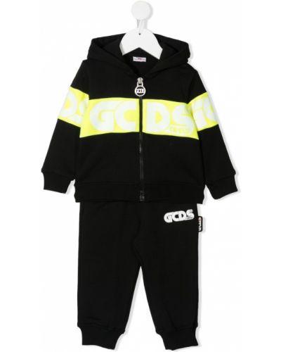 Czarny dres bawełniany z kapturem Gcds Kids