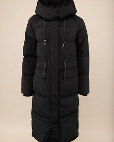 Прямой черный пуховик с капюшоном Snowimage
