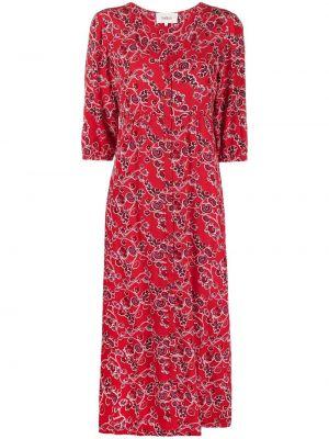 Платье миди в цветочный принт - красное Ba&sh