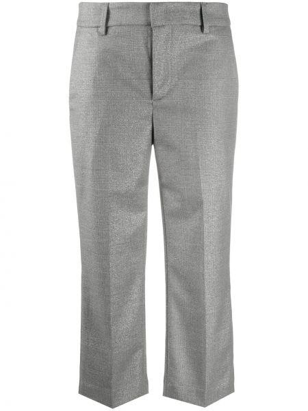 Серые прямые укороченные брюки с поясом с декоративной отделкой Dondup