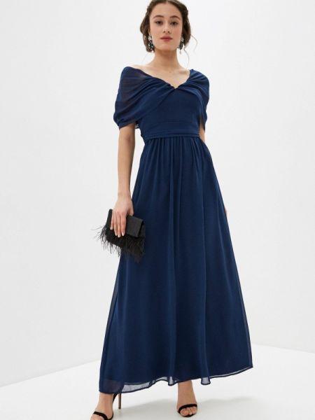 Вечернее платье синее весеннее Chi Chi London