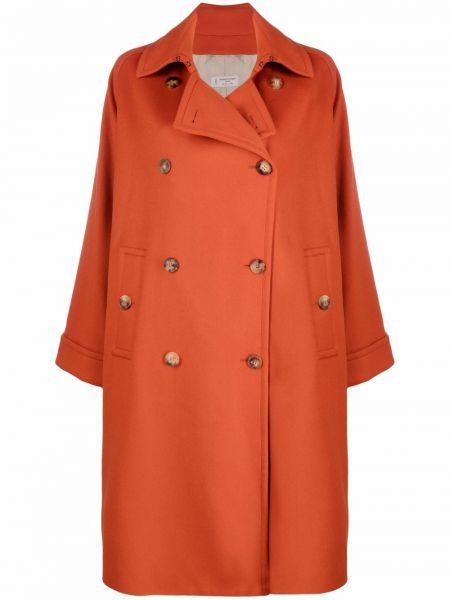 Оранжевое шерстяное длинное пальто двубортное Alberto Biani