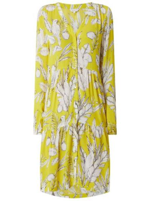 Żółta sukienka rozkloszowana z wiskozy Frogbox