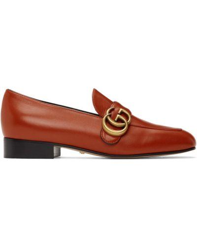 Skórzany czarny loafers na pięcie kaskada Gucci