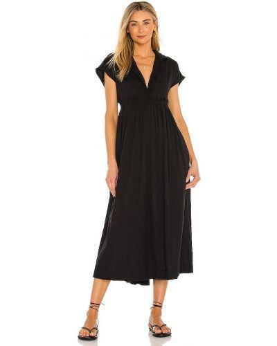 Льняное черное платье-рубашка свободного кроя Free People