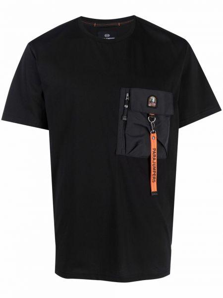 Черная хлопковая футболка Parajumpers