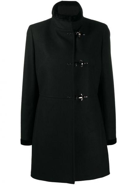 Черное однобортное шерстяное пальто с воротником Fay