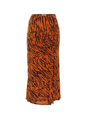 Оранжевая нейлоновая юбка миди в рубчик с сеткой Diane Von Furstenberg