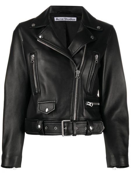 Черная куртка байкерская на молнии из вискозы Acne Studios