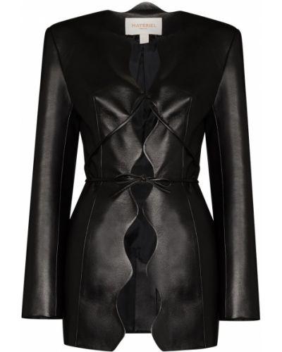 Прямой черный кожаный удлиненный пиджак Matériel