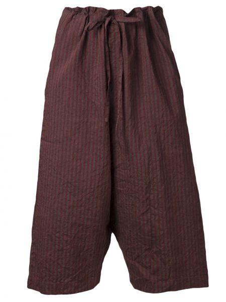 Красные льняные укороченные брюки с завязками с поясом Forme D'expression