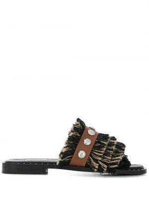 Czarne sandały skorzane peep toe Dorothee Schumacher
