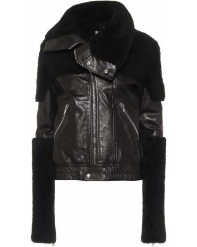 Плюшевая черная кожаная куртка с опушкой с манжетами Rick Owens