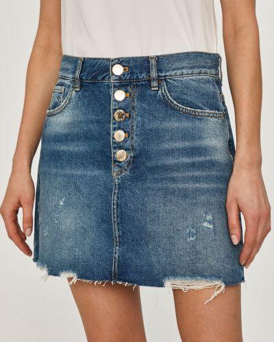 Niebieska spódnica mini zapinane na guziki bawełniana Pinko
