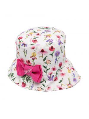Хлопковая белая шапка в цветочный принт Monnalisa