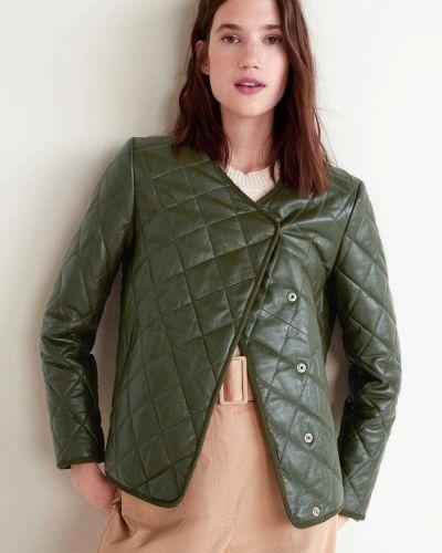 Кожаная куртка весенняя зеленая Mango