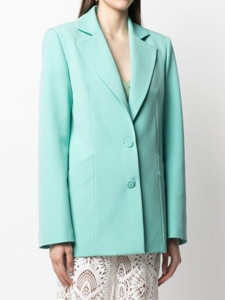 Зеленый удлиненный пиджак на пуговицах с лацканами Sara Battaglia
