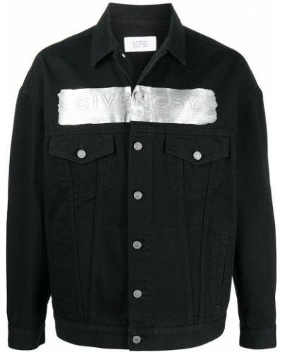 Czarna kurtka jeansowa bawełniana z długimi rękawami Givenchy