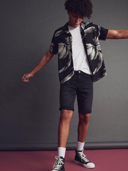 Рубашка с коротким рукавом - черная Defacto