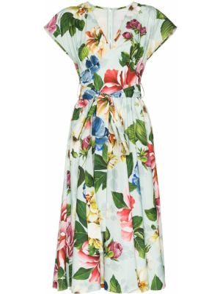 Летнее платье с цветочным принтом с V-образным вырезом Dolce & Gabbana