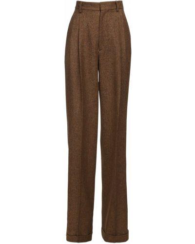 Brązowe spodnie z wysokim stanem wełniane Dsquared2