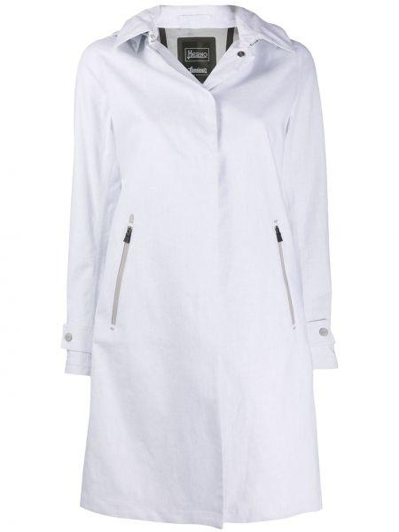Белая пальто классическое с капюшоном на молнии Herno