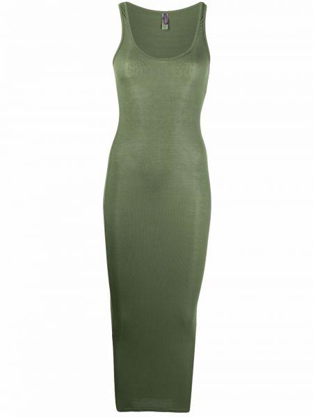 Зеленое платье миди без рукавов с вырезом Maison Close