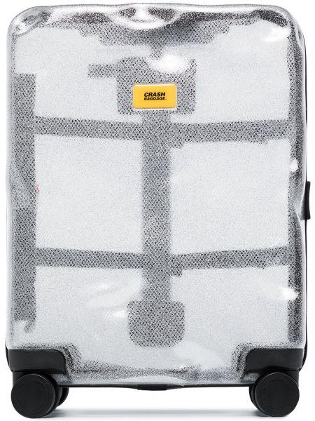 Чемодан прозрачный - серебряный Crash Baggage