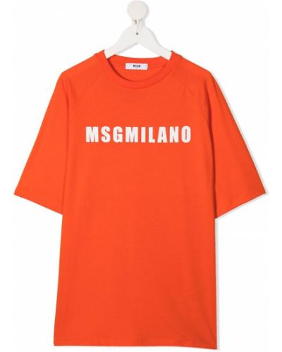 Хлопковая оранжевая прямая футболка Msgm Kids
