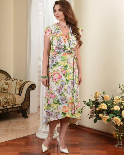 Приталенное платье миди с запахом с V-образным вырезом на торжество Salvi-s
