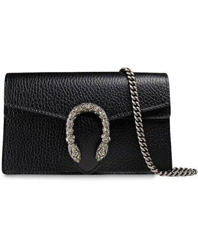 Кожаная сумка на цепочке со стразами Gucci