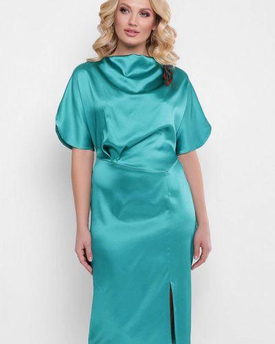 Асимметричное бирюзовое коктейльное платье Vlavi