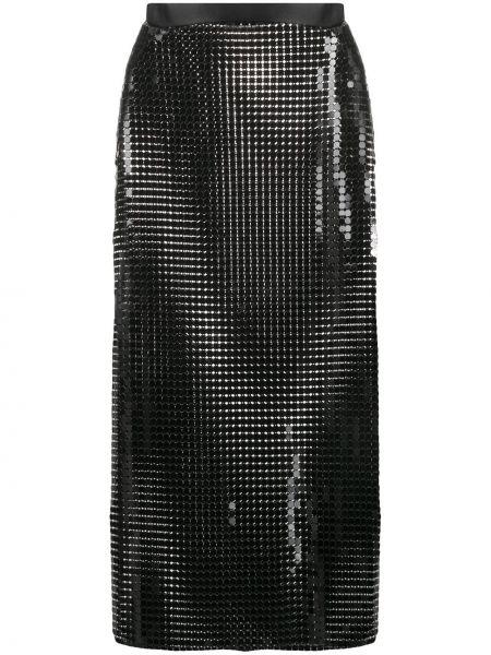 С завышенной талией черная юбка миди с разрезом Christopher Kane