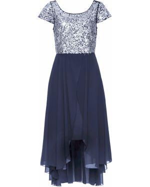 Вечернее платье шифоновое синее Bonprix