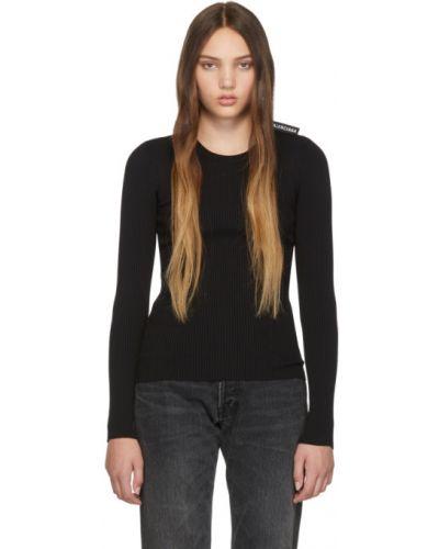 Czarny włókienniczy długi sweter z długimi rękawami z kołnierzem Balenciaga