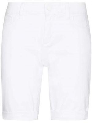 Белые джинсовые шорты классические с нашивками Paige