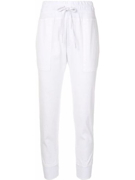 Белые свободные брюки с карманами узкого кроя свободного кроя James Perse