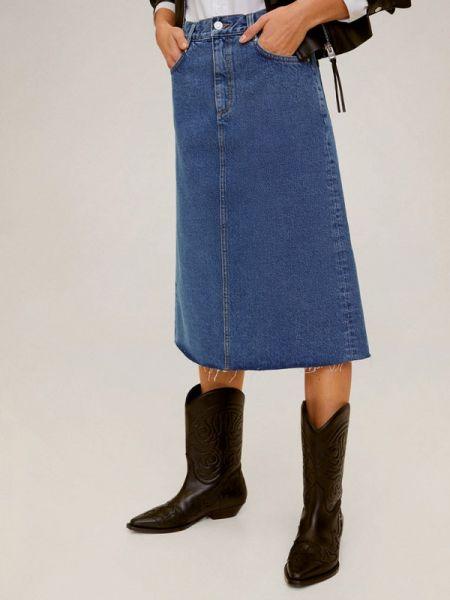 Джинсовая юбка синяя весенняя Mango