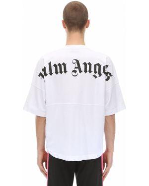 Белая футболка с круглым вырезом круглая Palm Angels