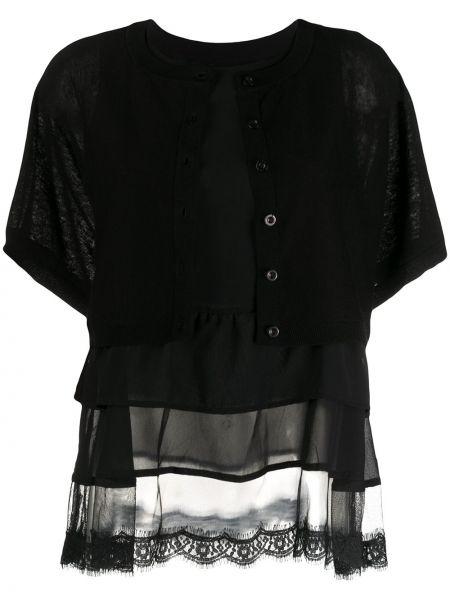 Кардиган с короткими рукавами черный ажурный Twin-set