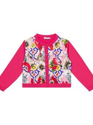 Różowy kardigan bawełniany Dolce & Gabbana Kids
