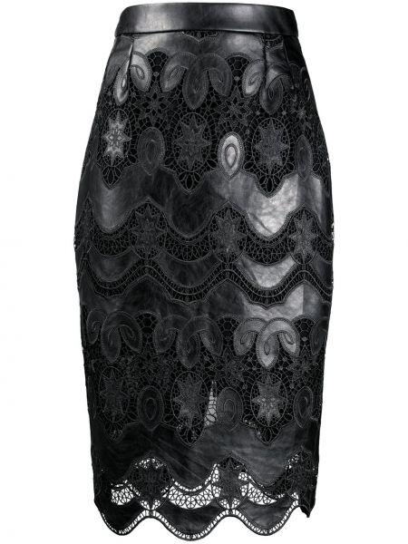 Ажурная черная с завышенной талией юбка со вставками Talbot Runhof