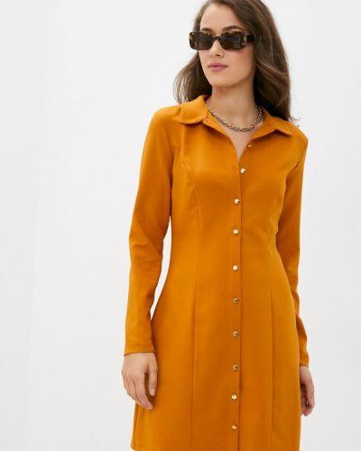 Оранжевое платье-рубашка Trendyol