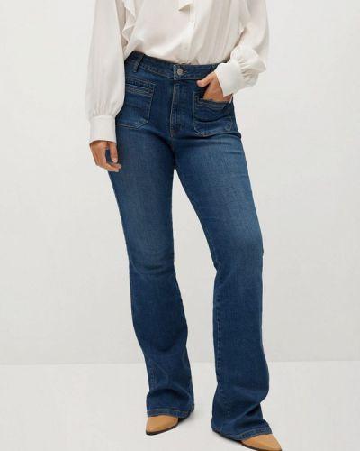Синие расклешенные широкие джинсы Violeta By Mango