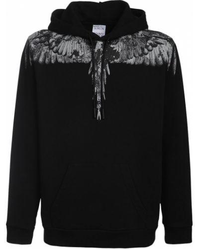 Czarna bluza kangurka bawełniana z printem Marcelo Burlon County Of Milan