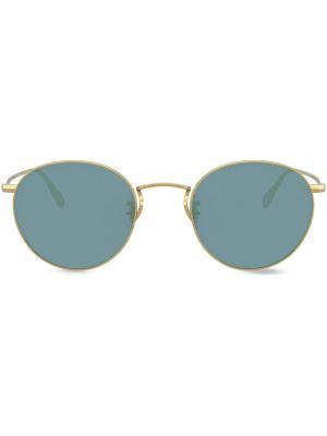 Солнцезащитные очки круглые металлические хаки Oliver Peoples