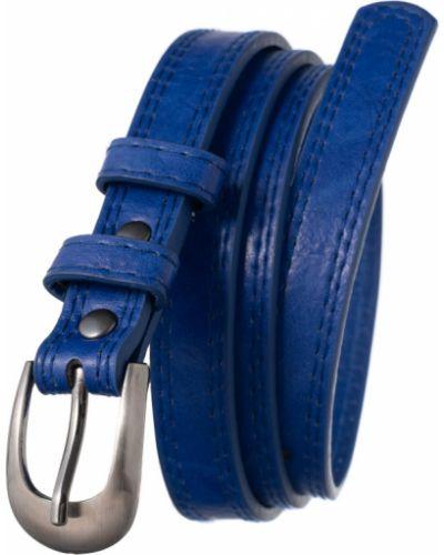 Spodni z paskiem niebieski skórzany pasek wąskie cięcie 4u Cavaldi