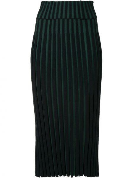 С завышенной талией зеленая плиссированная юбка миди Kenzo