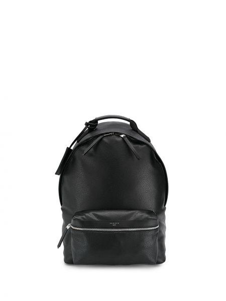 Кожаный черный рюкзак на бретелях с карманами Sandro Paris