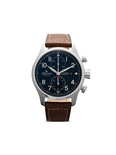 Кожаные синие часы Alpina